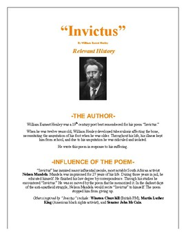"""Invictus"" by W.E. Henley- Worksheet & Mini-Unit Package- Common Core+ ANSWERS!"