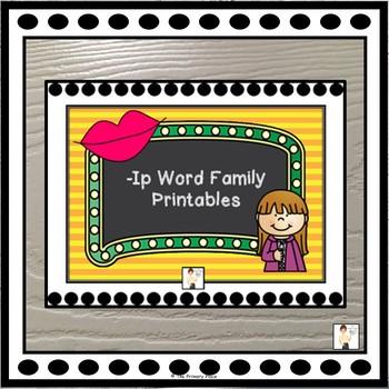 -Ip Word Family Printable Worksheets