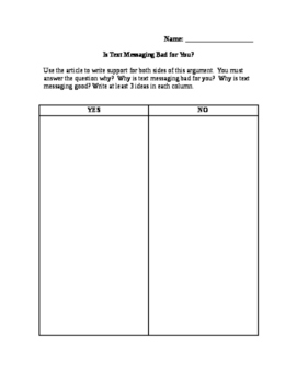 """Is Text Messaging Bad For You?"" - Language Arts Strategy Lesson Plan"