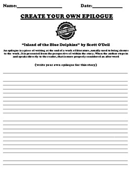 """Island of the Blue Dolphins"" by Scott O'Dell Epilogue Worksheet"