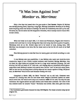 """It Was Iron Against Iron:"" Monitor vs. Merrimac"