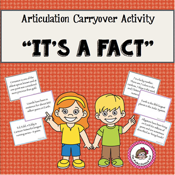 """Articulation Carryover Activity:  """"It's a Fact""""!"""