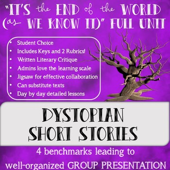 """""""It's the End of the World (as we know it)"""" Dystopian Short Stories Full Unit"""