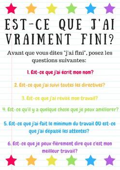 """""""J'ai fini"""" Classroom Poster"""