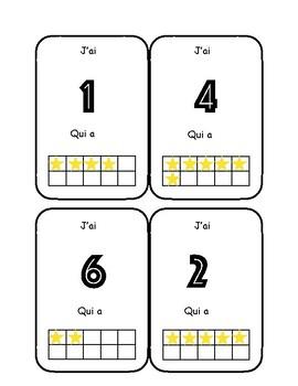 """""""J'ai .... qui a?"""" les chiffres de 1 à 10 avec cadres de 10"""