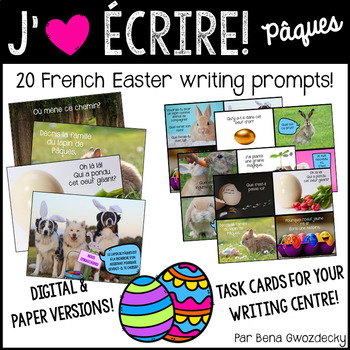 {J'aime Écrire: Pâques!} French Easter writing prompts with real pictures
