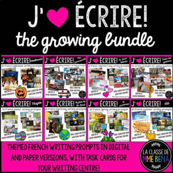 {J'aime Écrire: The Growing Bundle!} French writing prompts with real pictures