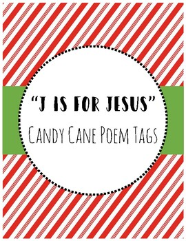 """""""J is for Jesus"""" Candy Cane Poem Tags"""