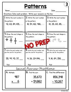 Patterns (Number Patterns and Shape Patterns) Worksheets
