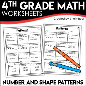 Patterns number patterns and shape patterns worksheets by shelly rees patterns number patterns and shape patterns worksheets ibookread PDF