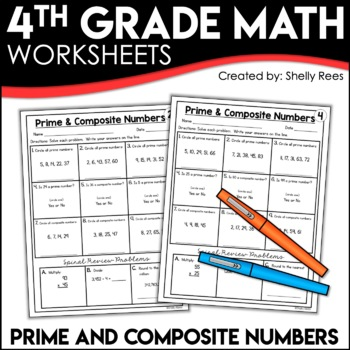 Prime Numbers and Composite Numbers Worksheets