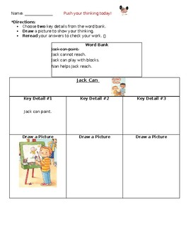 """Jack Can"" Wonders Unit 1 Week 1 Differentiated Key Detail Activity Sheet"