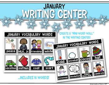 January Mini Word Wall for the Writing Center & Writing Workshop - Interactive
