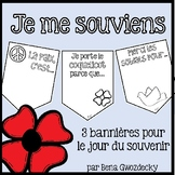 {Je me souviens} 3 printable French banners for Remembrance Day