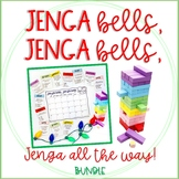 """Jenga Bells"" Winter Holiday Game Cards Math & ELA Bundle"