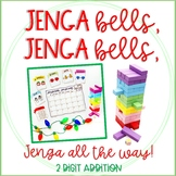 """""""Jenga Bells"""" Winter and Holiday Math Game Cards: 2 Digit Addition"""