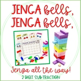 """Jenga Bells"" Winter and Holiday Math Game Cards: 2 Digit Subtraction"