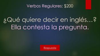 Jeopardy Realidades 2 1A: Verbos (Reg/Stem-change), Objetos, Aff/Neg, Sorpresa