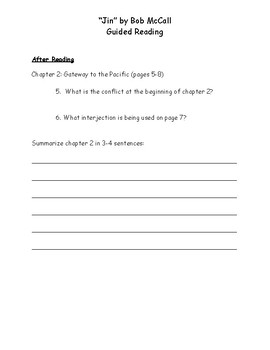 """""""Jin"""" Guided Reading Packet"""