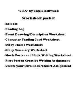 """JinX"" by Sage Blackwood Worksheet Packet"