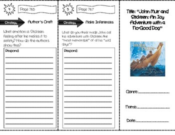 """John Muir and Stickeen"" Comprehension Trifold (Storytown Lesson 29)"