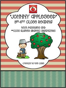 """Johnny Appleseed"" 3rd-6th *CCSS Aligned* Close Reading- Text/Graphic Organizers"