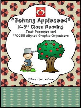 """""""Johnny Appleseed"""" K-3 *CCSS Aligned* Close Reading Text/Graphic Organizers"""