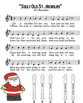 """""""Jolly Old St. Nicholas"""" for Recorders"""