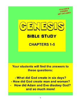 Genesis Bible Study  (Chs. 1-5)  - No Prep with Teacher's Answer Key