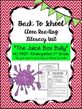 """Juice Box Bully"" NO PREP Fiction Close Reading Plans - K-1st Grade"