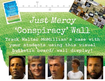 """""""Just Mercy"""" Conspiracy Wall Activity & Display for Read Aloud/ Novel Study"""