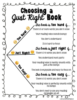 """""""Just Right Book"""" Mini Anchor Chart and Bookmark"""
