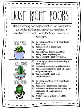 """""""Just Right"""" Books Classroom Sign"""