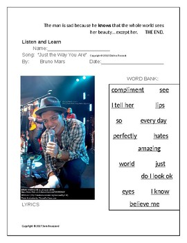 "ESL Embedded Reading and CLOZE Lyrics for ""Just the Way You Are"" by Bruno Mars"