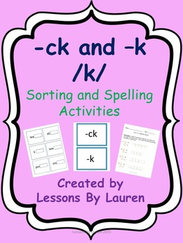 /K/ sound bundle - sorting and spelling activities