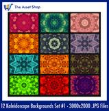 'Kaleidoscope Backgrounds' Set #1 (Digital Clip Art)
