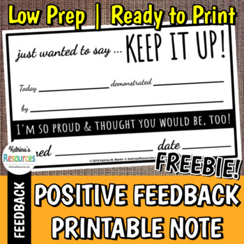 """Keep It Up"" Positive Behavior Recognition Note Printable *FREEBIE*"