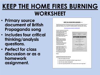 """Keep the Home Fires Burning"" - World War I Propaganda - Global/World History"