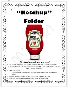 """Ketchup"" Folder Cover Page (editable)"