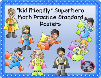 """Kid Friendly"" Superhero Math Practice Standard Mini-Posters"
