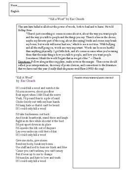 """""""Kill a Word:"""" by Eric Church (Poetry devices)and application to The Outsiders"""