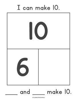 """ Kindergarten & 1st Grade  """"Make 10"""" Cards Part-Part-Whole Work Mats"""