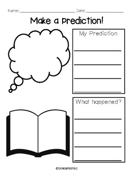 kindergarten 1st grade prediction graphic organizer for guided reading