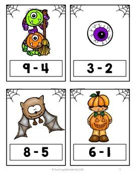 {Kindergarten} Spooktacular Subtraction Solve the Room Activity Packet