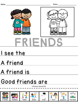 #KindnessRules : Friendship Journals for Beginning Writers (Special Education)
