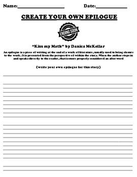 """Kiss my Math"" by Danica McKellar Epilogue Worksheet"