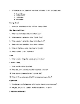 """""""Knots in My Yo-Yo String"""" Content Questions and Answers"""