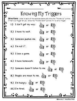 """Knowing My Triggers"" Student Activity K/1"