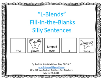 """""""L-Blends Fill-in-the-Blanks Silly Sentences"""