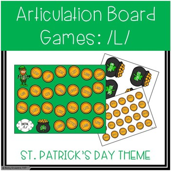 /L/ and /L/-Blends Articulation Board Games - St. Patrick's Day Theme